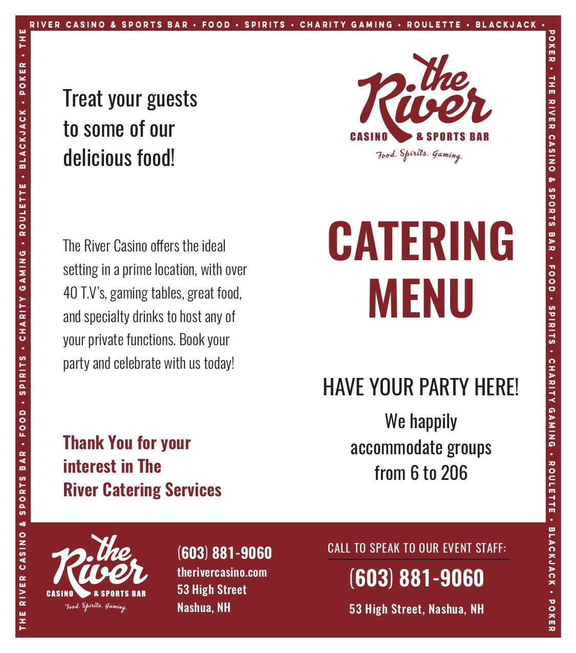 the River Casino and Sports Bar Catering Menu A